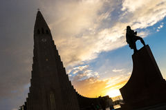 Hallgrimskirkja Cathedral and Leif Eriksson Statue Royalty Free Stock Images