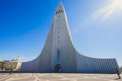 Hallgrimskirkja Cathedral in Reykjavik, Iceland, lutheran parish church, exterior in a sunny summer Royalty Free Stock Image