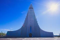 Hallgrimskirkja Cathedral in Reykjavik, Iceland, lutheran parish church, exterior in a sunny summer Royalty Free Stock Images