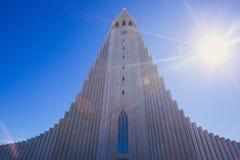 Hallgrimskirkja Cathedral in Reykjavik, Iceland, lutheran parish church, exterior in a sunny summer Stock Photo