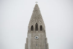 Hallgrimskirkja Cathedral in Reykjavik, Iceland. Steeple of Hallgrimskirkja Cathedral in Reykjavik, Iceland Stock Images