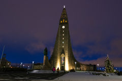 Hallgrimskirkja Cathedral in Reykjavik, Iceland at twilight. Royalty Free Stock Image