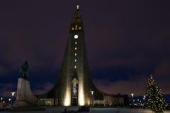Hallgrimskirkja Cathedral in Reykjavik, Iceland at twilight. Stock Photo