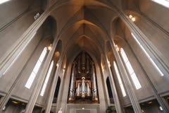 Hallgrimskirkja church interior, popular landmark in Reykjavik, Iceland. Hallgrimskirkja church interior,popular landmark in Reykjavik, Iceland stock photo