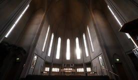 Hallgrimskirkja church interior, popular landmark in Reykjavik. Iceland royalty free stock image