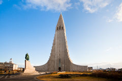 Hallgrimskirkja church in Reykjavik, Iceland. Hallgrimskirkja church with statue of Leif Eriksson in Reykjavik, Iceland. Landmar of the city Stock Image
