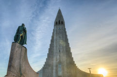 Hallgrimskirkja-Kathedrale in Reykjavik, Island stockbilder