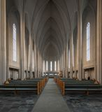 Hallgrimskirkja Lutheran church. Empty nave inside the Hallgrimskirkja Lutheran church in Reykjavik, Iceland Royalty Free Stock Photos