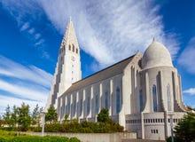 Hallgrimskirkja Lutheran parish church in Reykjavik Iceland Scandinavia. Expressionist architecture style Hallgrimskirkja church of Hallgrímur lutheran parish royalty free stock image