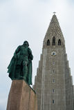 Hallgrimskirkja, Reykjavik cathedral and Leifr Eiricsson monument Stock Images