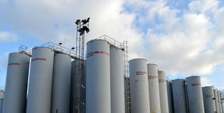 Halliburton Baroid storage silos, Aberdeen Harbour Stock Photography