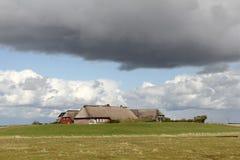Hallig Groede in het Overzees van het Noordenfrisian Wadden Stock Fotografie
