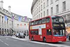 The impressive hallmark of London 2. The hallmark of London is undoubtedly the red bus , that adds color to the city royalty free stock photos