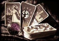 Tarot Cards And Crystal Ball. `The Hallmark Tarot` hand drawn originals, with crystal ball stock image