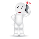 Hallo. A man is calling with a mobile phone Stock Image