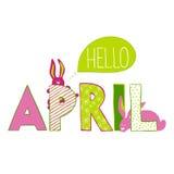 Hallo April Beschriftung mit Kaninchen Stockbild