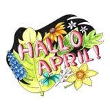 Hallo April-Illustration auf Niederländisch Stockfoto
