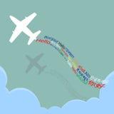 Hallo begrüßen Welt, alle Sprache mit dem Flugzeug über der Wolke, Illustrationsvektor im flachen Design Lizenzfreies Stockfoto