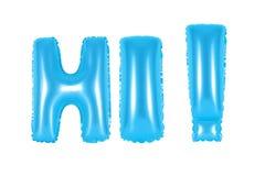 Hallo, begroetend, blauwe kleur Stock Afbeeldingen