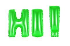 Hallo, begroetend, groene kleur Royalty-vrije Stock Foto