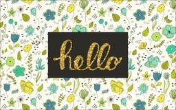 Hallo Beschriftung mit Blumengekritzeln Stockfoto
