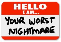 Hallo bin ich Ihr schlechtester Albtraum Nametag-Aufkleber Stockfoto