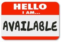 Hallo bin ich verfügbarer Namensschild-Aufkleber-zugängliche Bequemlichkeit Ser Stockfotos