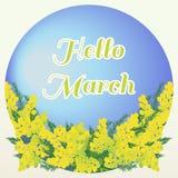 Hallo blüht März-Beschriftung auf blauem Hintergrund mit Mimose Lizenzfreie Stockfotografie