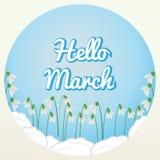 Hallo blüht März-Beschriftung auf blauem Hintergrund mit Schneeglöckchen Vektor Abbildung