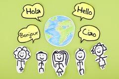 Hallo in den verschiedenen internationalen globalen Fremdsprachen Bonjour Ciao Hola Stockfoto