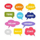 Hallo in den verschiedenen Sprachen lizenzfreie abbildung