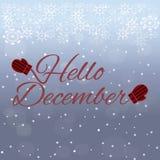 Hallo Dezember-Beschriftung auf blauem Hintergrund Stockfotos
