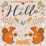 Hallo Eichhörnchen Autumn Vector Illustration Stockfotos