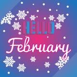 Hallo Februar-Schneeflocken und Beschriftungszusammensetzungsflieger Lizenzfreie Stockbilder