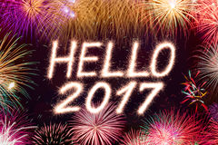 Hallo Feuerwerk mit 2017 Scheinen Stockbild