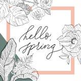 Hallo Frühling im Quadrat mit Blumen Stockbilder
