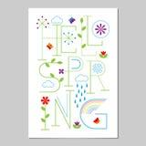 Hallo Frühlings-Beschriftungsplakat Typografischer Hintergrund stock abbildung