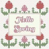 Hallo Frühlingsbeschriftung mit Tulpen, Nachahmung des Kreuzstichs Lizenzfreie Abbildung
