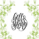 Hallo Frühlingsbeschriftungs-Typografiefahne Vektorblatt- und -blumenhintergrund Handgeschriebenes Spaßzitat im Blumenrahmen vektor abbildung