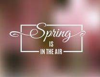 Hallo Frühlingsgrußkarte auf unscharfem rosa Hintergrund Vektor Stock Abbildung