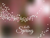 Hallo Frühlingsgrußkarte auf unscharfem rosa Hintergrund Vektor Vektor Abbildung
