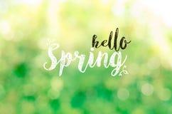 Hallo Frühlingstext mit Naturlicht bokeh Hintergrund Lizenzfreie Stockbilder