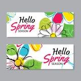 Hallo Frühlingsverkaufs-Fahnenschablone mit bunter Blume Sein können wir lizenzfreie abbildung