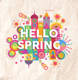 Hallo Frühlingszitat-Plakatdesign Stockbilder