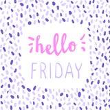 Hallo Freitag-Beschriftung Bunte Grußaufschrift der Kalligraphie Stockfoto