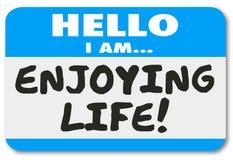Hallo genieße ich Leben-Namensschild-Aufkleber-Entspannungs-Ferien bezüglich Stockfotografie