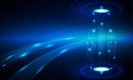 Hallo Geschwindigkeitsinternet-Technologiezusammenfassungshintergrund Stockfotografie