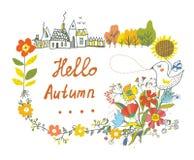 Hallo grafische Karte des Herbstes mit Blumen, Vogel und Dorf Stockfotos