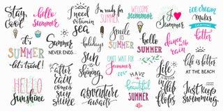 Hallo großer Satz der Sommerbeschriftungs-Typografie stock abbildung