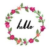 Hallo handgeschriebene Beschriftungsillustration der Tinte mit Blumenkreisrahmen Erster Teil Lizenzfreie Stockbilder